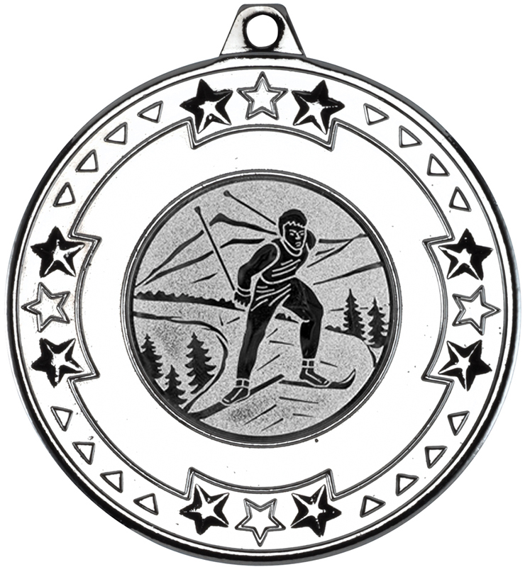 """Silver Star & Pattern Medal with 1"""" Skiing Centre Disc 50mm (2"""")"""