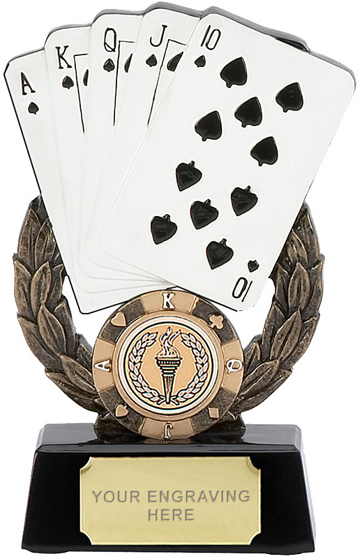 """Playing Cards Trophy with Playing Cards 14.5cm (5.75"""")"""