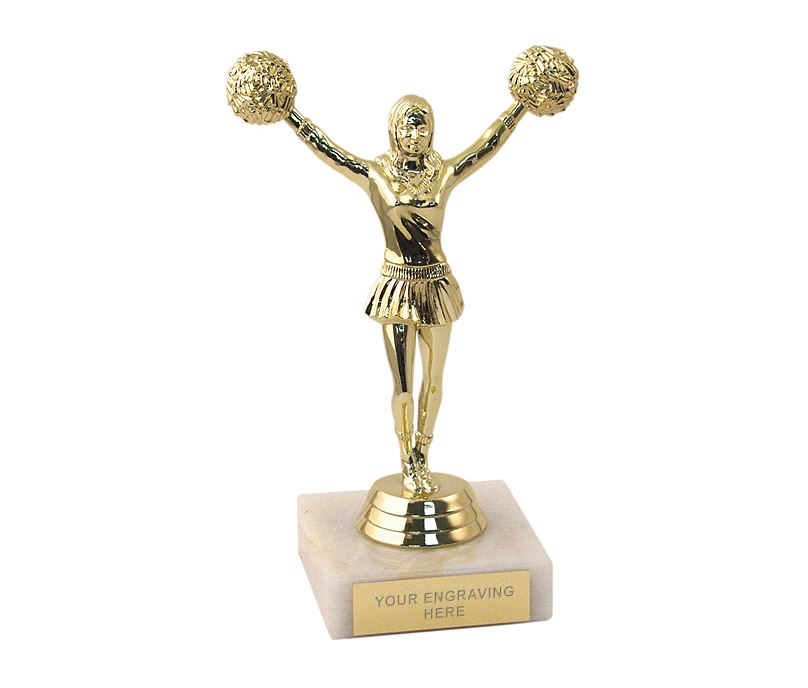 "Gold Cheerleader Figurine Trophy 15cm (6"")"