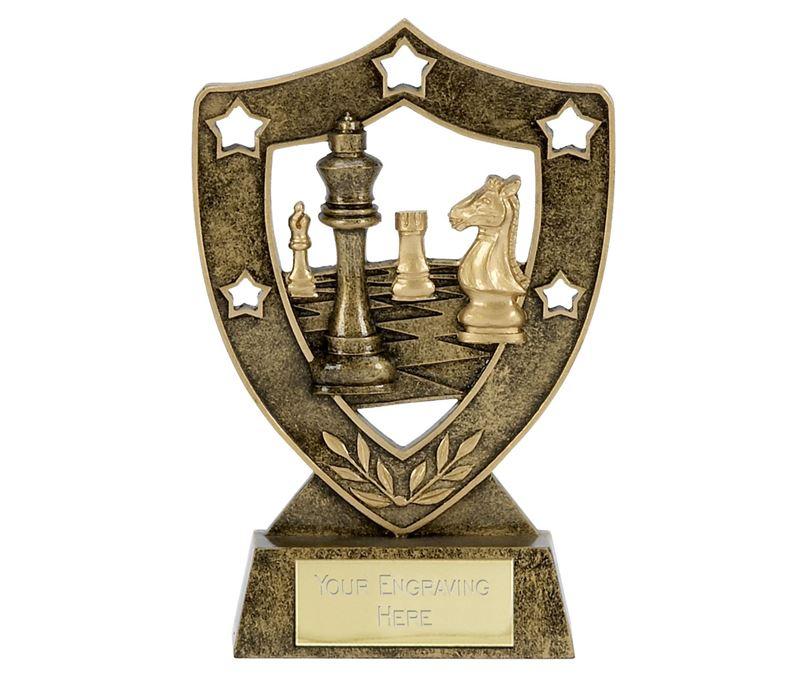 "Chess Multi Star Shield Trophy 15cm (6"")"