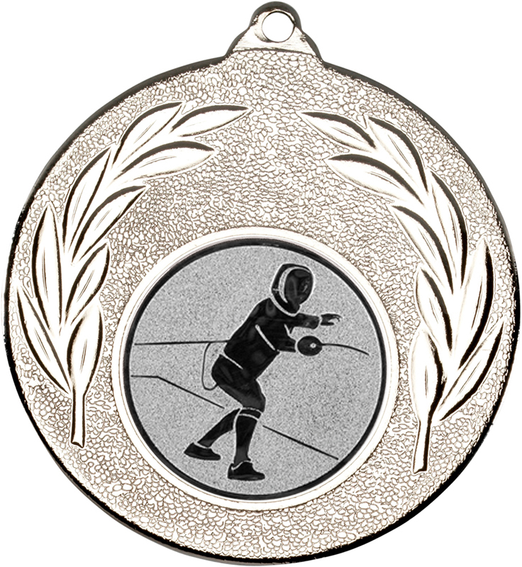 """Silver Leaf Medal with 1"""" Fencing Centre Disc 50mm (2"""")"""