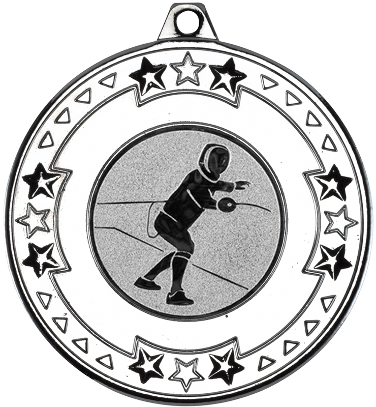 """Silver Star & Pattern Medal with 1"""" Fencing Centre Disc 50mm (2"""")"""