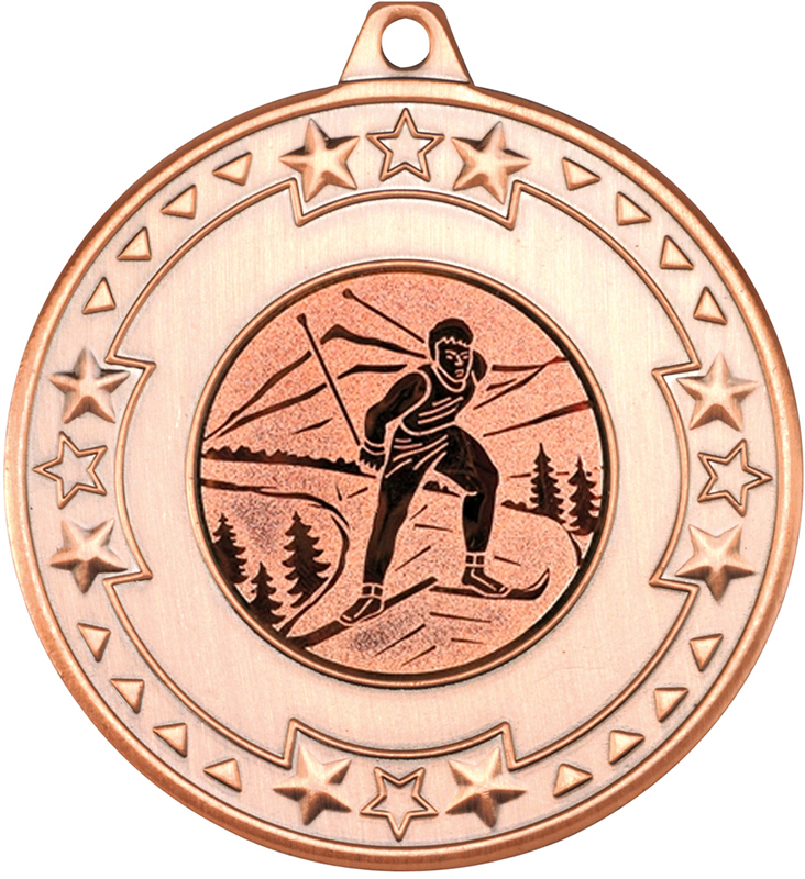 """Bronze Star & Pattern Medal with 1"""" Skiing Centre Disc 50mm (2"""")"""