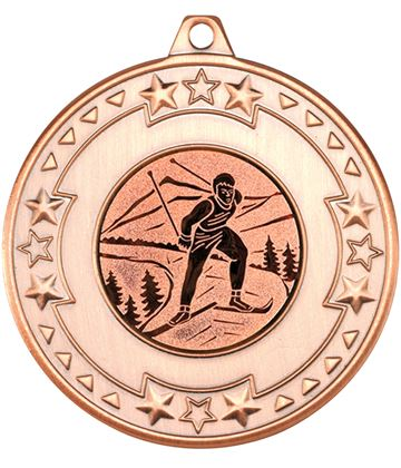"Bronze Star & Pattern Medal with 1"" Skiing Centre Disc 50mm (2"")"