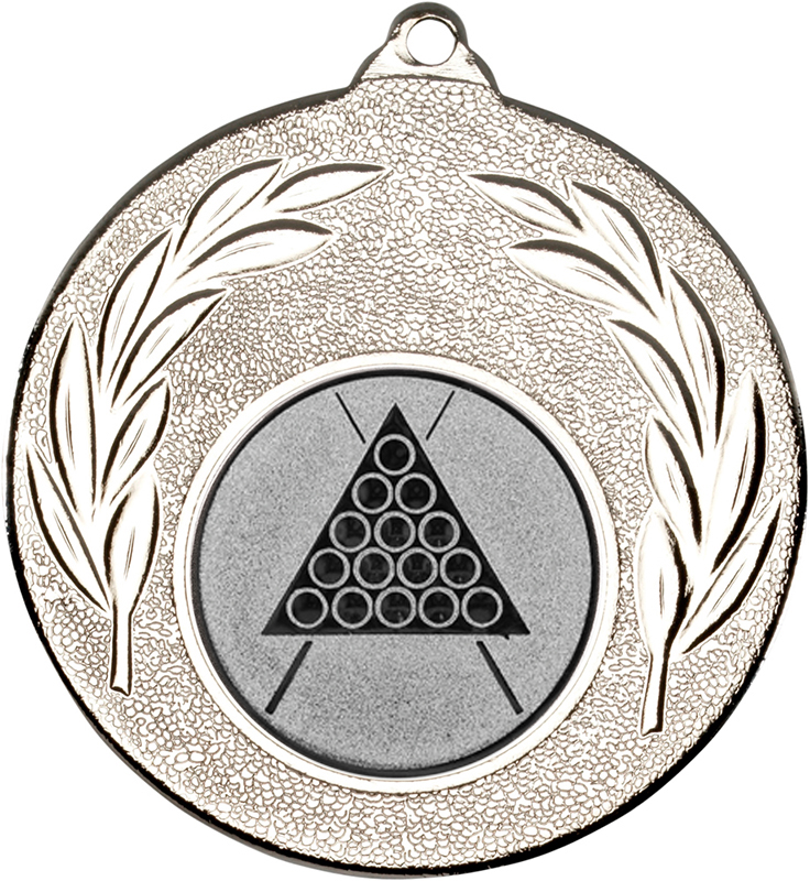 """Silver Leaf Medal with 1"""" Snooker/Pool Centre Disc 50mm (2"""")"""