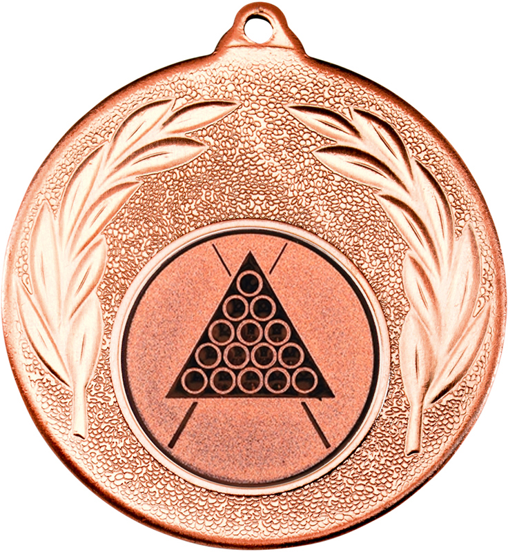 "Bronze Leaf Medal with 1"" Snooker/Pool Centre Disc 50mm (2"")"