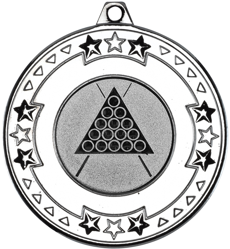 """Silver Star & Pattern Medal with 1"""" Snooker/Pool Centre Disc 50mm (2"""")"""