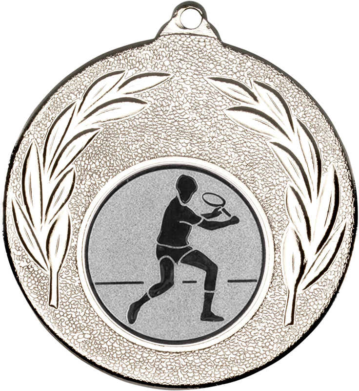 "Silver Leaf Medal with 1"" Squash Player Centre Disc 50mm (2"")"