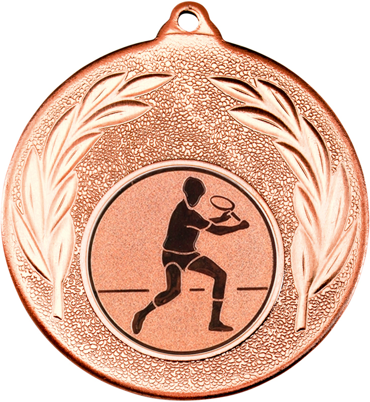 "Bronze Leaf Medal with 1"" Squash Player Centre Disc 50mm (2"")"