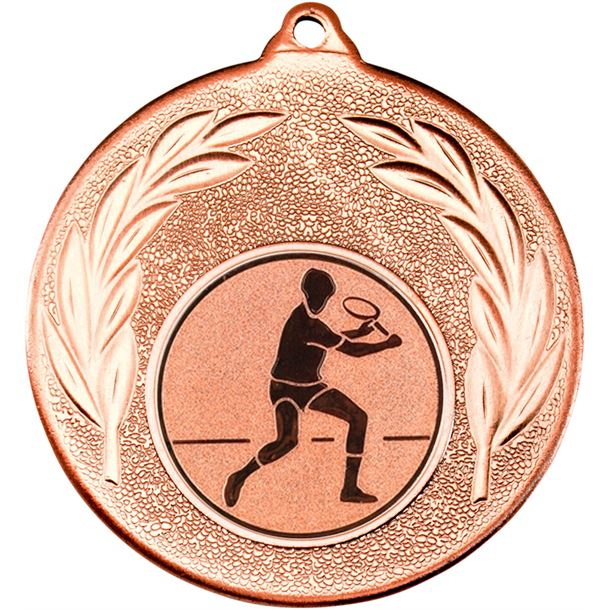 """Bronze Leaf Medal with 1"""" Squash Player Centre Disc 50mm (2"""")"""