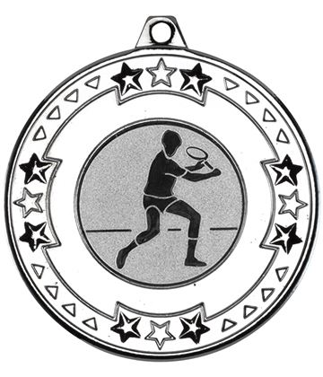 "Silver Star & Pattern Medal with 1"" Squash Player Centre Disc 50mm (2"")"