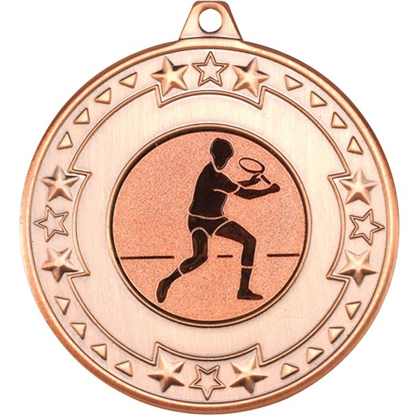 """Bronze Star & Pattern Medal with 1"""" Squash Player Centre Disc 50mm (2"""")"""