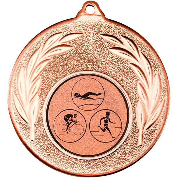 "Bronze Leaf Medal with 1"" Triathlon Centre Disc 50mm (2"")"