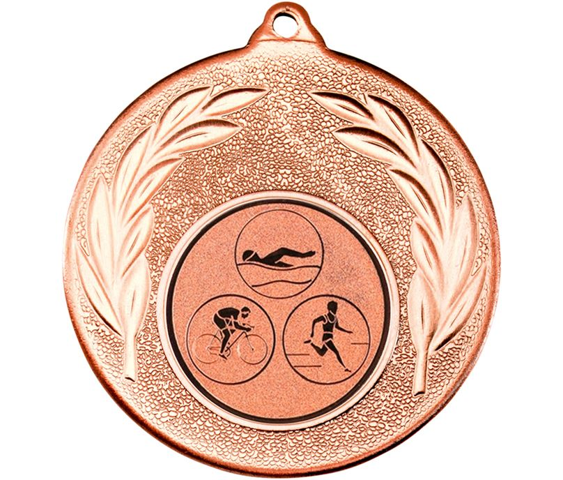 "Bronze Leaf Medal with 1"" Triathlon Centre Disc 50mm (2"")"