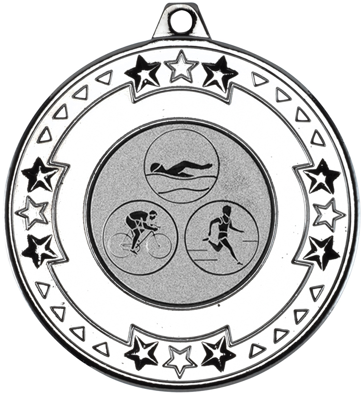 "Silver Star & Pattern Medal with 1"" Triathlon Centre Disc 50mm (2"")"