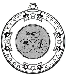 """Silver Star & Pattern Medal with 1"""" Triathlon Centre Disc 50mm (2"""")"""
