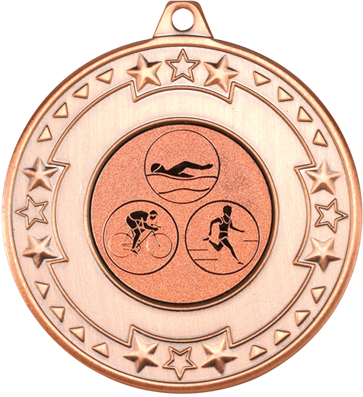 "Bronze Star & Pattern Medal with 1"" Triathlon Centre Disc 50mm (2"")"