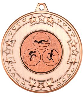 "Bronze Star & Pattern Medal with 1"" Triathlon Centre Disc 50mm (2"")"
