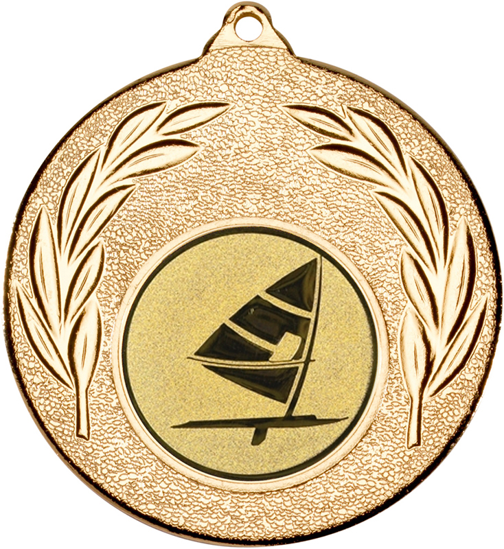 "Gold Leaf Medal with 1"" Windsurfing Centre Disc 50mm (2"")"