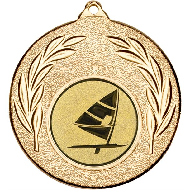 "Gold Leaf Medal with 1"" Windsurfing Centre Disc 50mm (2"")"