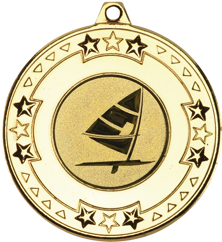 "Gold Star & Pattern Medal with 1"" Windsurfing Centre Disc 50mm (2"")"