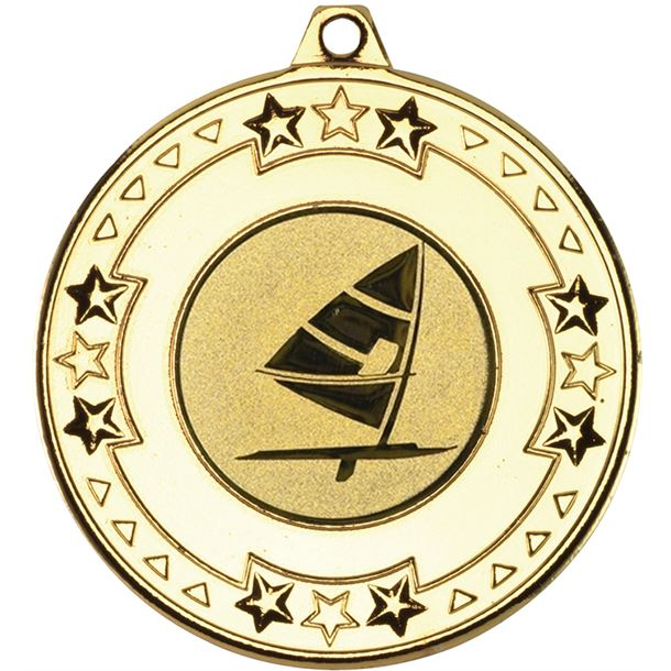 """Gold Star & Pattern Medal with 1"""" Windsurfing Centre Disc 50mm (2"""")"""