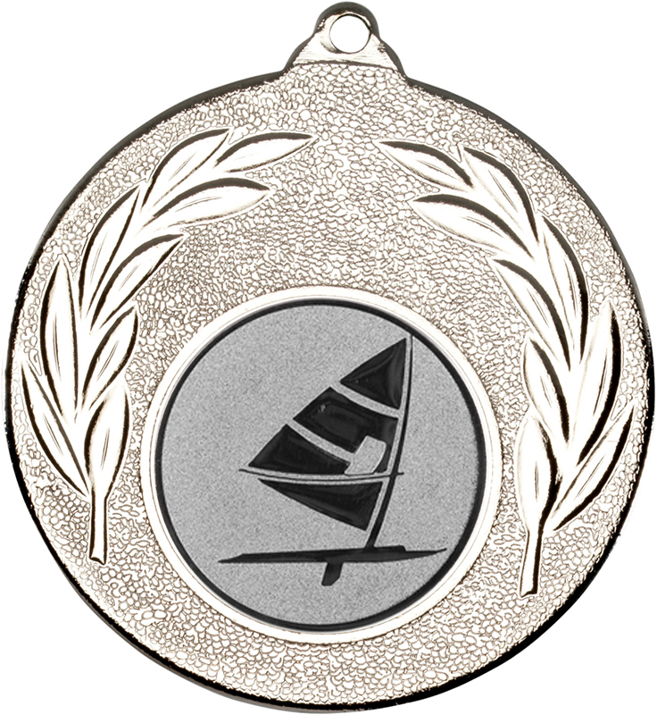 "Silver Leaf Medal with 1"" Windsurfing Centre Disc 50mm (2"")"
