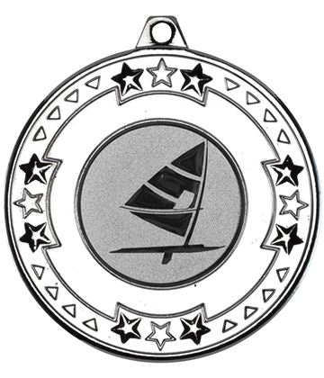 "Silver Star & Pattern Medal with 1"" Windsurfing Centre Disc 50mm (2"")"