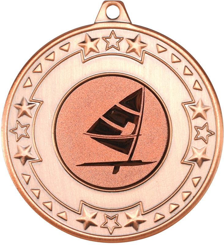 """Bronze Star & Pattern Medal with 1"""" Windsurfing Centre Disc 50mm (2"""")"""