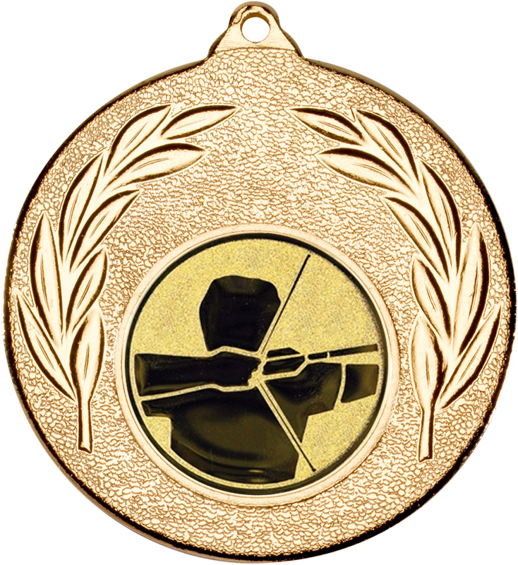 """Gold Leaf Medal with 1"""" Archery Centre Disc 50mm (2"""")"""