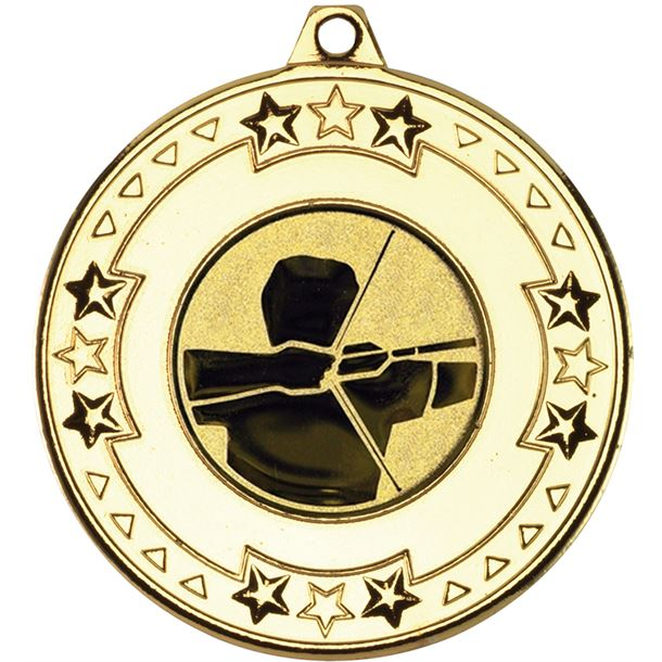 "Gold Star & Pattern Medal with 1"" Archery Centre Disc 50mm (2"")"