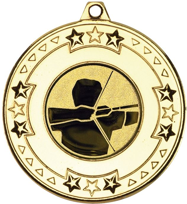 """Gold Star & Pattern Medal with 1"""" Archery Centre Disc 50mm (2"""")"""