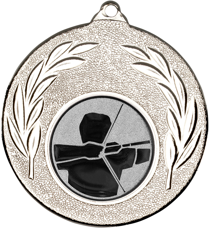 """Silver Leaf Medal with 1"""" Archery Centre Disc 50mm (2"""")"""