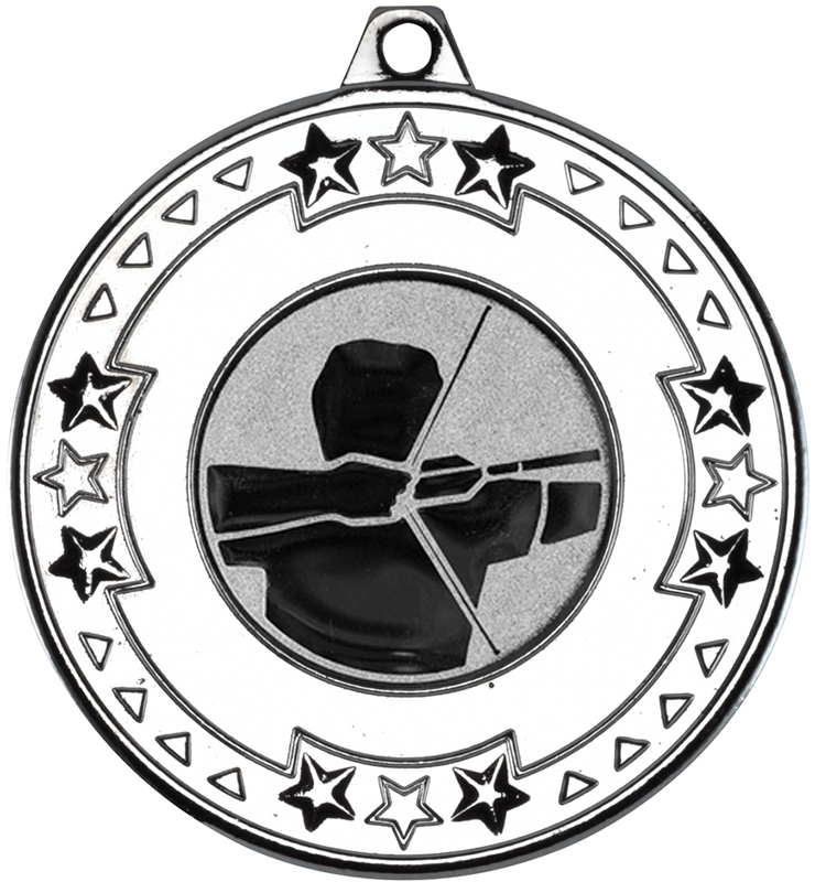 """Silver Star & Pattern Medal with 1"""" Archery Centre Disc 50mm (2"""")"""