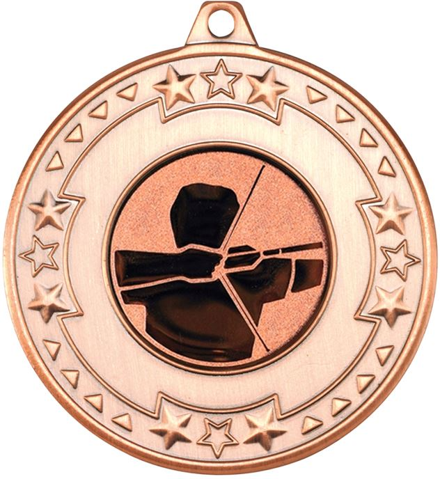 """Bronze Star & Pattern Medal with 1"""" Archery Centre Disc 50mm (2"""")"""