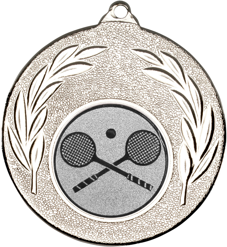 "Silver Leaf Medal with 1"" Squash Centre Disc 50mm (2"")"