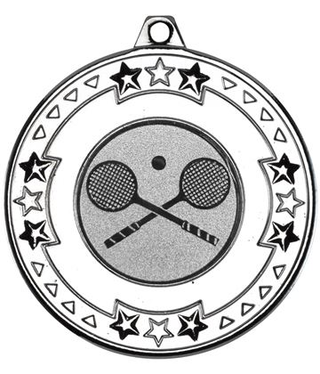 "Silver Star & Pattern Medal with 1"" Squash Centre Disc 50mm (2"")"