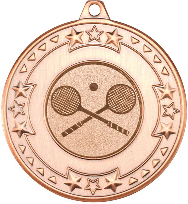 "Bronze Star & Pattern Medal with 1"" Squash Centre Disc 50mm (2"")"