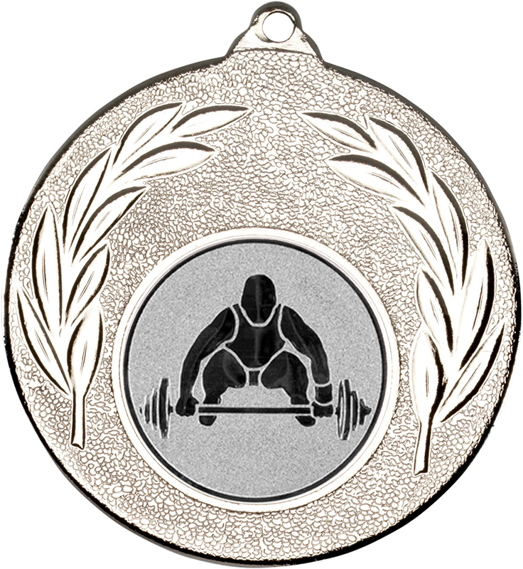 "Silver Leaf Medal with 1"" Weight Lifting Centre Disc 50mm (2"")"