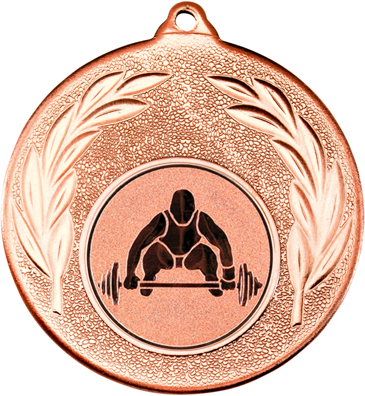 "Bronze Leaf Medal with 1"" Weight Lifting Centre Disc 50mm (2"")"