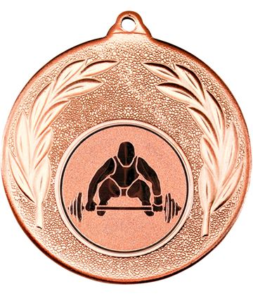 """Bronze Leaf Medal with 1"""" Weight Lifting Centre Disc 50mm (2"""")"""