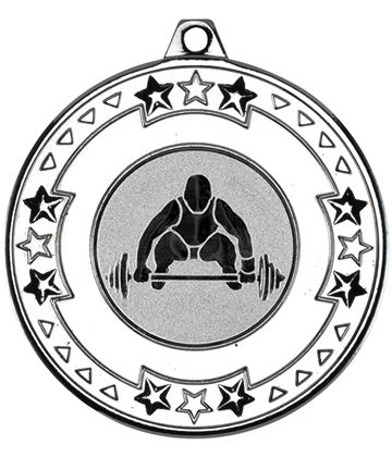 "Silver Star & Pattern Medal with 1"" Weight Lifting Centre Disc 50mm (2"")"
