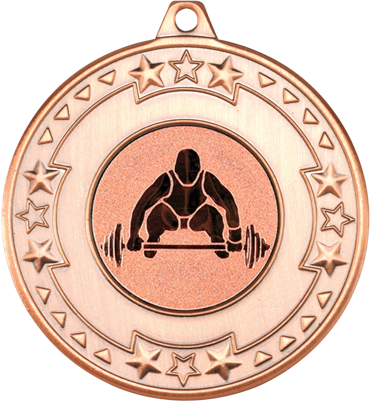 """Bronze Star & Pattern Medal with 1"""" Weight Lifting Centre Disc 50mm (2"""")"""