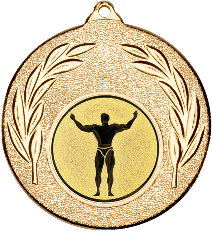 "Gold Leaf Medal with 1"" Strong Man Centre Disc 50mm (2"")"