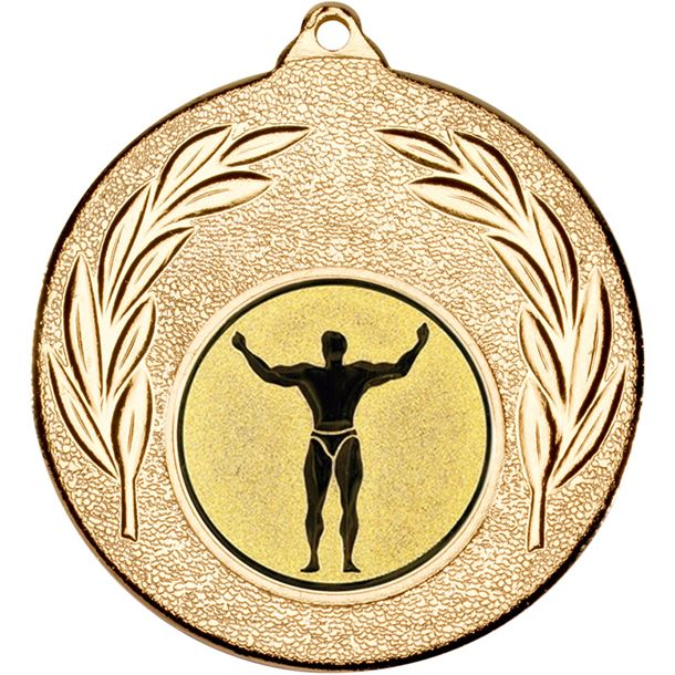 """Gold Leaf Medal with 1"""" Strong Man Centre Disc 50mm (2"""")"""