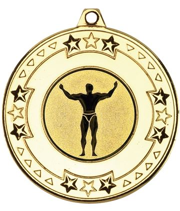 "Gold Star & Pattern Medal with 1"" Strong Man Centre Disc 50mm (2"")"