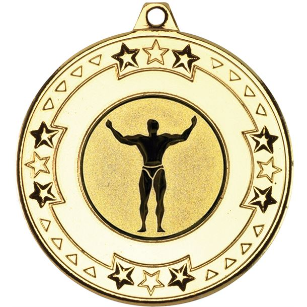 """Gold Star & Pattern Medal with 1"""" Strong Man Centre Disc 50mm (2"""")"""