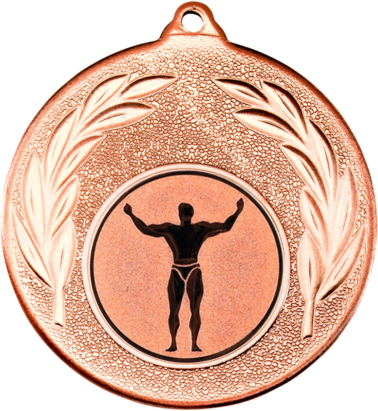 "Bronze Leaf Medal with 1"" Strong Man Centre Disc 50mm (2"")"