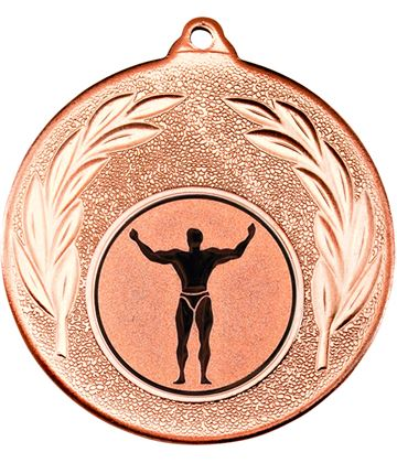 """Bronze Leaf Medal with 1"""" Strong Man Centre Disc 50mm (2"""")"""