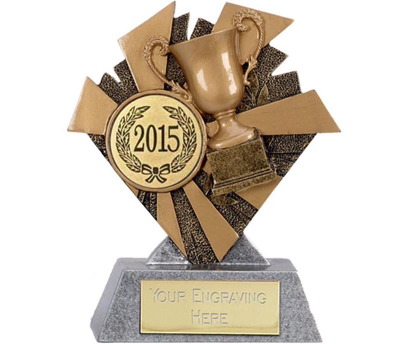 "Gold & Silver Multi Award Smash Trophy 10cm (4"") with Gold 2015 Centre Disc"